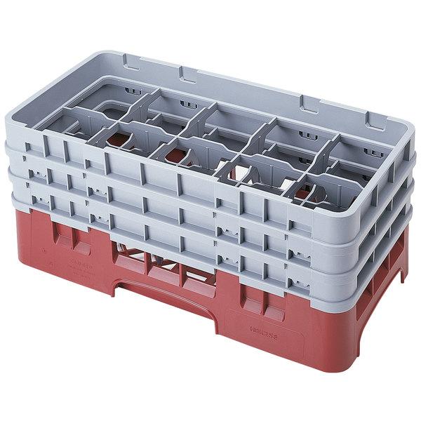 "Cambro 10HS638416 Cranberry Camrack Customizable 10 Compartment 6 7/8"" Half Size Glass Rack"