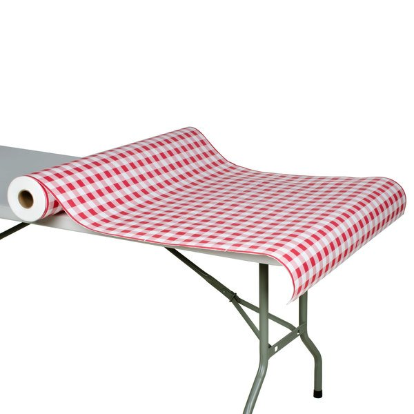 "40"" x 300' Paper Table Cover with Red Gingham Pattern Main Image 3"