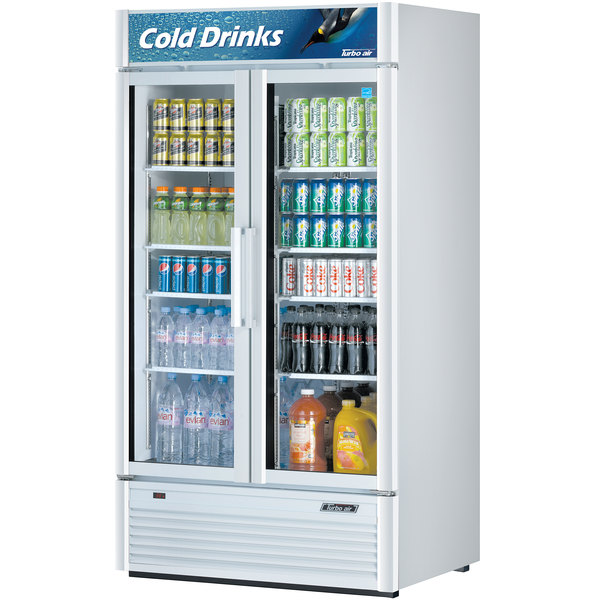 """Turbo Air TGM-35SDW-N Super Deluxe Series 40"""" White Two Glass Door Refrigerated Merchandiser Main Image 1"""