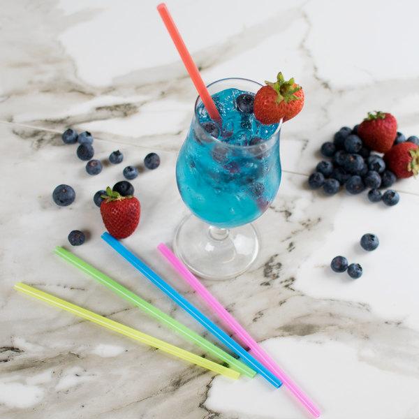 "Choice 7 3/4"" Jumbo Neon Unwrapped Soda Straw - 10000/Case"