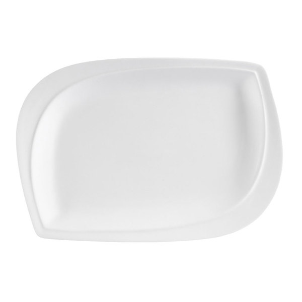 "CAC ASP-14 Aspen Tree Bone White Porcelain 14"" x 10"" Platter - 12/Case"