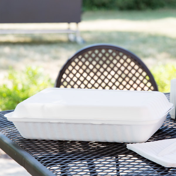 """Green Wave TW-BOO-018 9"""" x 12"""" x 3"""" Microwavable Biodegradable Take Out Container - 75/Pack"""
