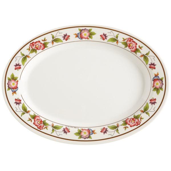 "GET M-4030-TR Tea Rose 12 1/4"" x 8 3/4"" Oval Melamine Platter - 12/Pack"