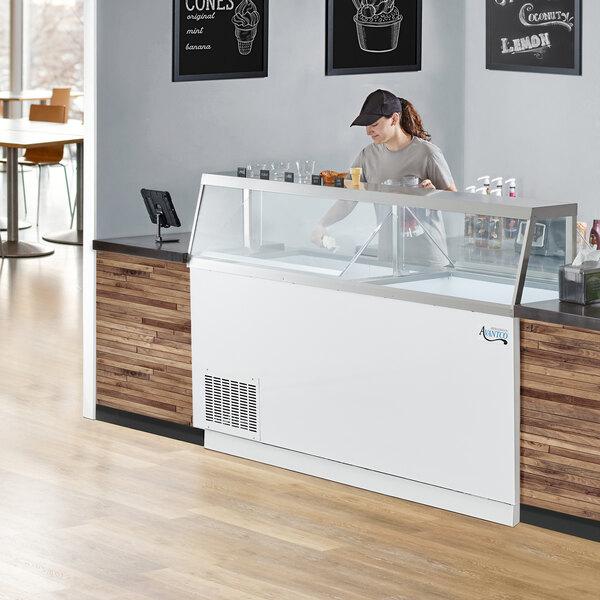 "Avantco CPW-88-HC 88 3/4"" 16 Tub White Deluxe Ice Cream Dipping Cabinet Main Image 6"