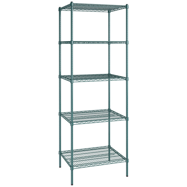 "Regency 24"" x 30"" NSF Green Epoxy 5-Shelf Kit with 86"" Posts"
