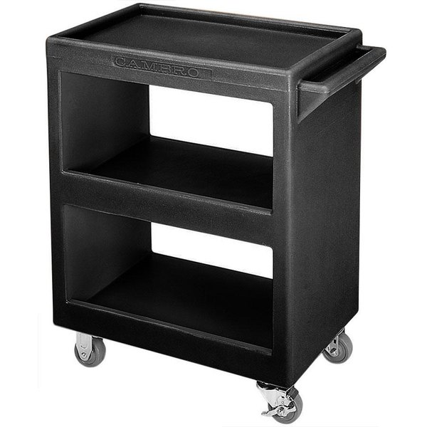 "Cambro BC2304S110 Black Three Shelf Service Cart - 33 1/4"" x 20"" x 34 5/8"" Main Image 1"