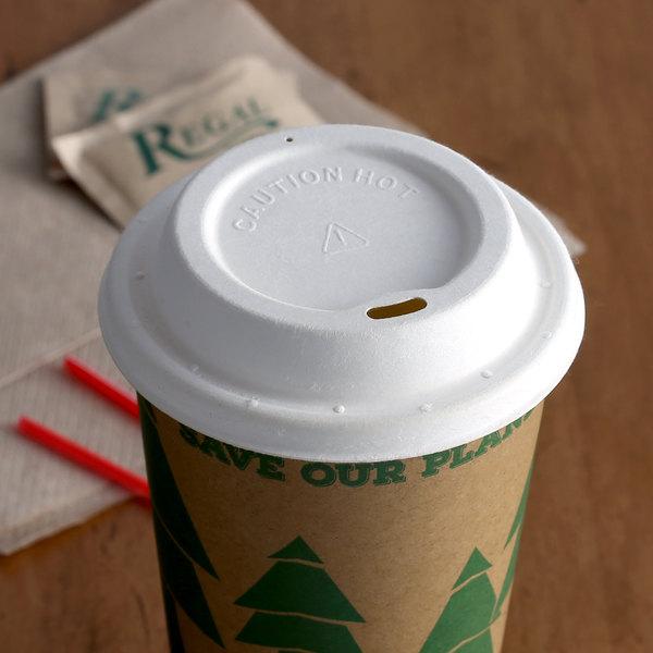 EcoChoice 8 oz. Squat to 24 oz. White Compostable Sugarcane Hot Cup Lid; Fits 8 oz. Squat to 20 oz. - 500/Case Main Image 2