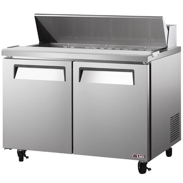 "Turbo Air EST-60-N E-line 60 1/4"" 2 Door Refrigerated Sandwich Prep Table Main Image 1"