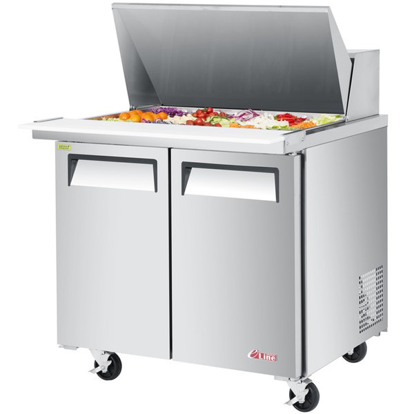 "Turbo Air EST-36-15-N6 E-line 36 3/8"" 2 Door Mega Top Refrigerated Salad Prep Table Main Image 1"