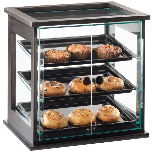 """Cal-Mil 284-S-96 Three Tier Midnight Bamboo Display Case with Dual Front Doors - 21"""" x 16 1/4"""" x 22 1/2"""" Main Image 1"""