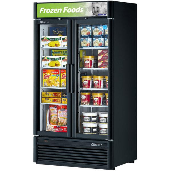 "Turbo Air TGF-35SDB-N Black 40"" Super Deluxe Glass Door Merchandising Freezer Main Image 1"