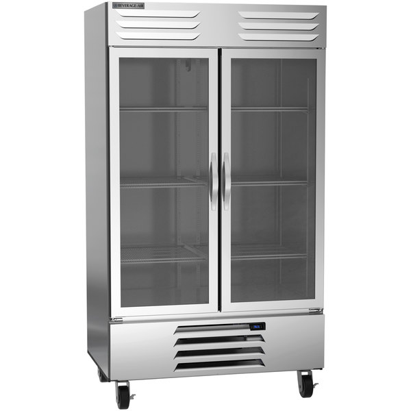 """Beverage-Air RB44HC-1G 47"""" Vista Series Two Section Glass Door Reach-In Refrigerator - 44 Cu. Ft. Main Image 1"""