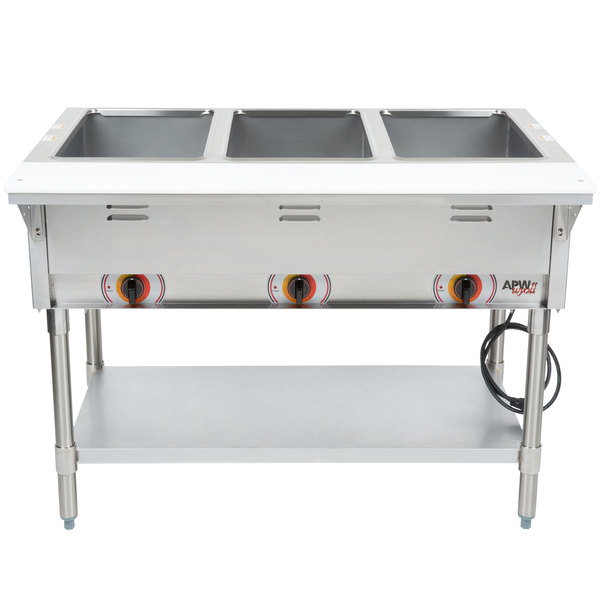 APW Wyott ST-3 Three Pan Exposed Stationary Steam Table with Coated Legs and Undershelf - 1500W - Open Well, 120V Main Image 1