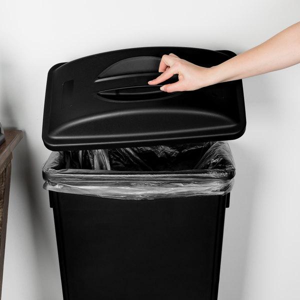 Lavex Janitorial Black Slim Rectangular Trash Can Flat Lid with Handle Main Image 2