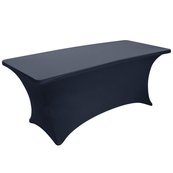 """Snap Drape BS630011 Budget Stretch 72"""" x 30"""" Navy Spandex Table Cover Main Image 1"""