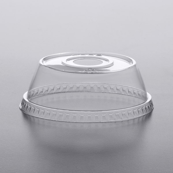 Dome PET Lid with 1 inch Hole for Parfait Cups - 500/Case