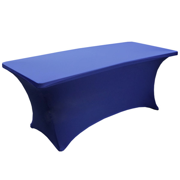 """Snap Drape BS630572 Budget Stretch 72"""" x 30"""" Royal Blue Spandex Table Cover Main Image 1"""