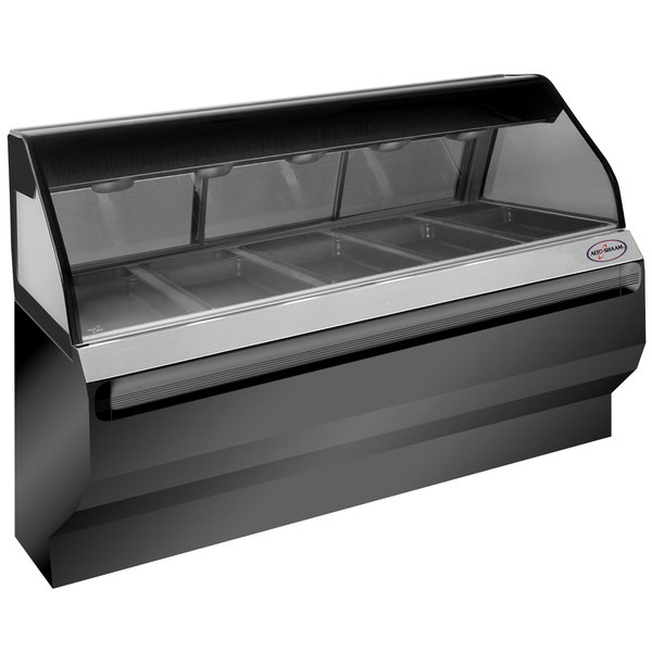 Alto-Shaam ED2SYS-72/P BK Black Heated Display Case with Curved Glass and Base - Self Service 72""