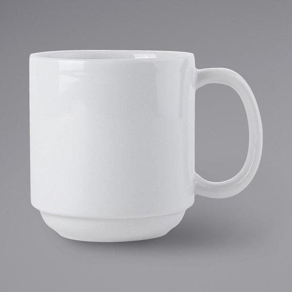 Tuxton BPM-110J 11 oz. Porcelain White Stackable China Mug - 24/Case Main Image 1