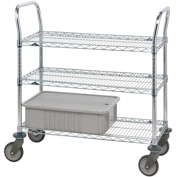 "Metro 3SPN33PS Super Erecta Stainless Steel Three Shelf Heavy Duty Utility Cart with Polyurethane Casters - 18"" x 36"" x 39"""