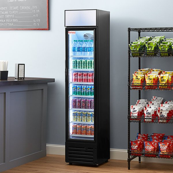 """Galaxy GDN-5 16 1/2"""" Black Swing Glass Door Merchandiser Refrigerator with Red, White, and Blue LED Lighting Main Image 5"""