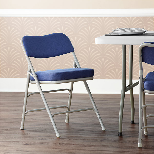 """Lancaster Table & Seating Blue Fabric Folding Chair with 2"""" Padded Seat Main Image 5"""