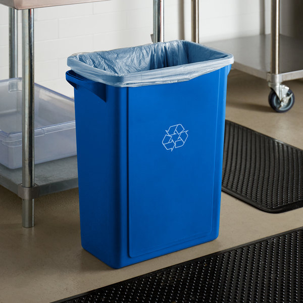 Lavex Janitorial 16 Gallon Blue Slim Rectangular Recycle Bin Main Image 2