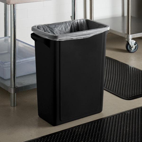 Lavex Janitorial 16 Gallon Black Slim Rectangular Trash Can Main Image 2