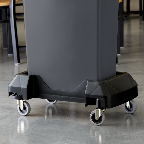Lavex Janitorial Black Trainable Slim Trash Can Dolly Main Image 2