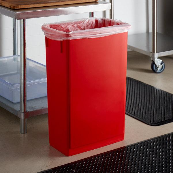 Lavex Janitorial 23 Gallon Red Slim Rectangular Trash Can Main Image 2