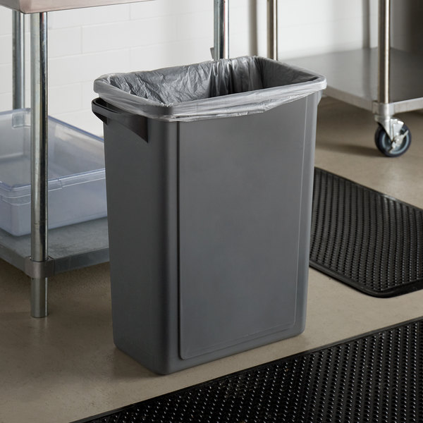 Lavex Janitorial 16 Gallon Gray Slim Rectangular Trash Can Main Image 2