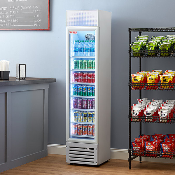 """Galaxy GDN-5 16 1/2"""" White Swing Glass Door Merchandiser Refrigerator with Red, White, and Blue LED Lighting Main Image 5"""