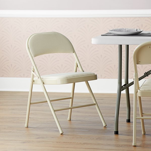 Lancaster Table & Seating Beige Fabric Folding Chair with Padded Seat Main Image 5