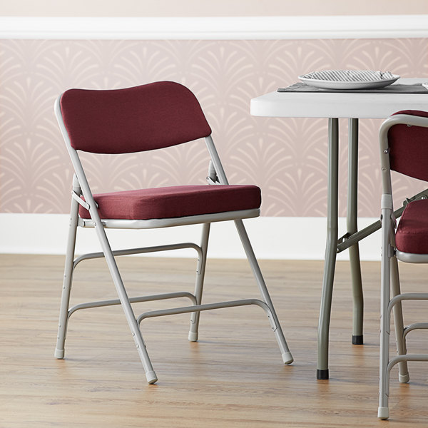 """Lancaster Table & Seating Burgundy Fabric Folding Chair with 2"""" Padded Seat Main Image 5"""