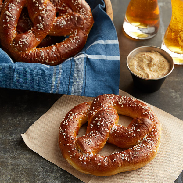 J & J Snack Foods SuperPretzel Bavarian 3.2 oz. Sourdough Soft Pretzel - 64/Case Main Image 2