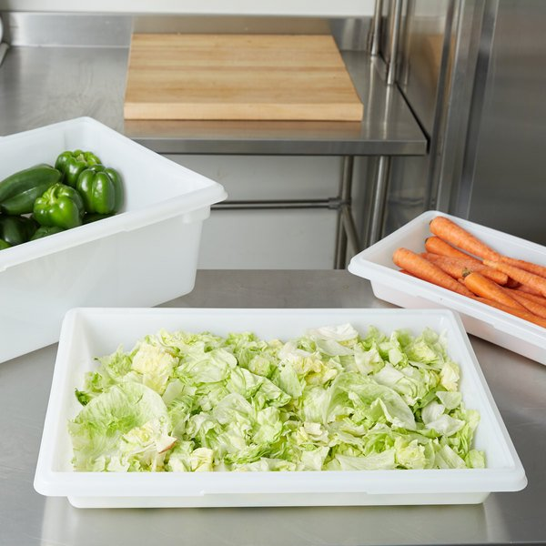 "Rubbermaid FG350600WHT White Polyethylene Food Storage Box - 26"" x 18"" x 3 1/2"""