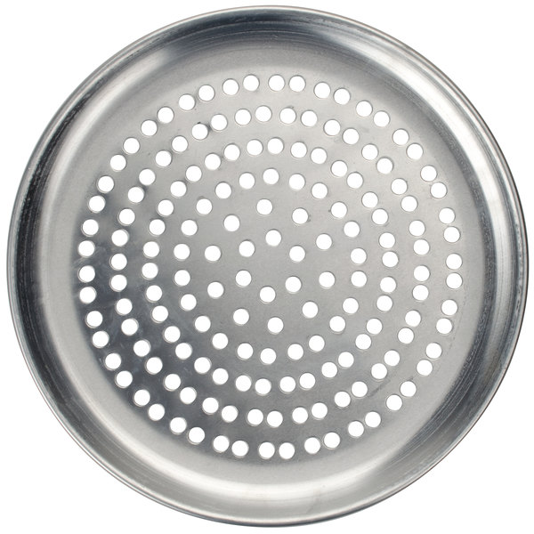 "American Metalcraft SPCTP18 18"" Super Perforated Standard Weight Aluminum Coupe Pizza Pan"