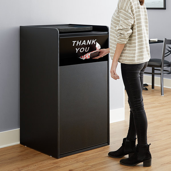 "Lancaster Table & Seating Waste 35 Gallon Black Receptacle Enclosure with ""THANK YOU"" Swing Door Main Image 5"