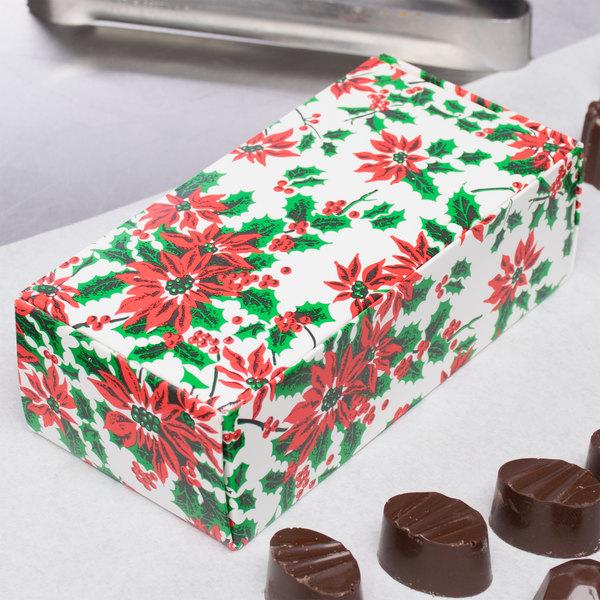 "5 1/2"" x 2 3/4"" x 1 3/4"" 1-Piece 1/2 lb. Poinsettia / Holiday Candy Box - 250/Case Main Image 5"