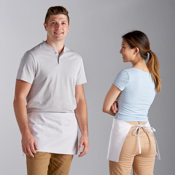 "White Cotton//Poly Blend Pockets 3 21-3//4/""L x 12-1//2/""W Waist Apron with"