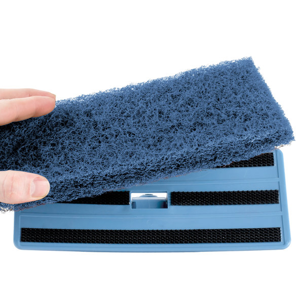 "Scrubble by ACS 626 10"" x 4 1/2"" Medium-Duty Blue Multi-Purpose Scouring Pad - 5/Pack"