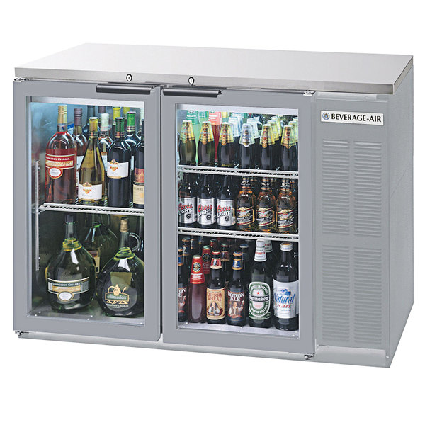 """Beverage-Air BB48HC-1-G-S-27-ALT 48"""" Stainless Steel Glass Door Back Bar Refrigerator with Stainless Steel Top and Left Side Compressor Main Image 1"""