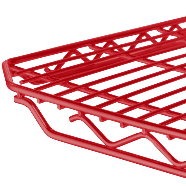 "Metro 1436Q-DF qwikSLOT Flame Red Wire Shelf - 14"" x 36"""