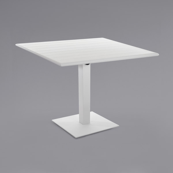 """BFM Seating PHB2432WH-18SQWH Beachcomber-Margate 24"""" x 32"""" White Aluminum Dining Height Outdoor / Indoor Table with Square Base Main Image 1"""