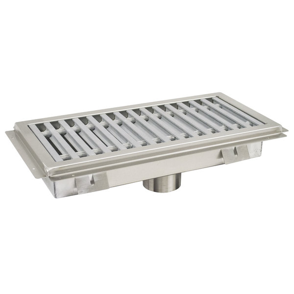 "Advance Tabco FFTG-1254 12"" x 54"" Floor Trough with Fiberglass Grating"