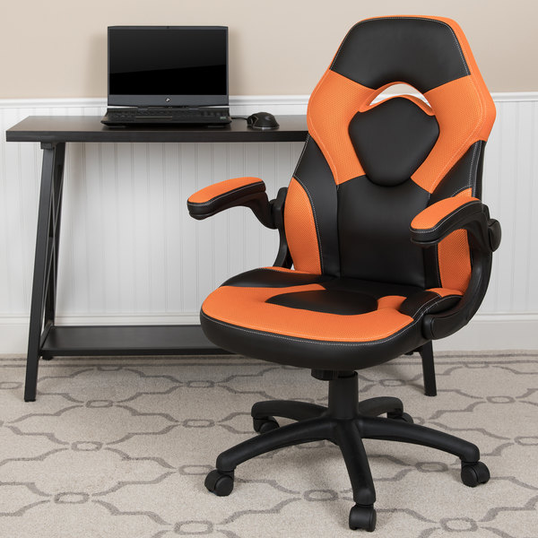 Phenomenal Flash Furniture Ch 000995 Or Gg High Back Orange Leathersoft Swivel Office Chair Video Game Chair With Flip Up Arms Ncnpc Chair Design For Home Ncnpcorg