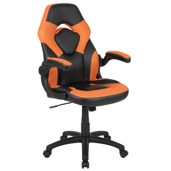 Awesome Flash Furniture Ch 00095 Or Gg High Back Orange Leathersoft Swivel Office Chair Video Game Chair With Flip Up Arms Ncnpc Chair Design For Home Ncnpcorg