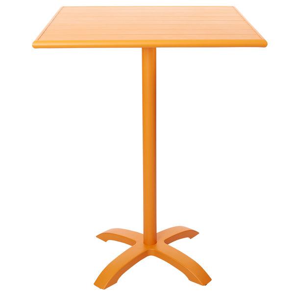 "BFM Seating PHB3232CT-2626CTT Bali-Beachcomber 32"" Square Citrus Powder Coated Aluminum Bar Height Outdoor / Indoor Table Main Image 1"