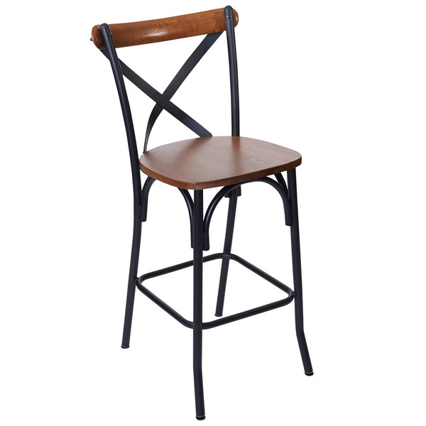 Bfm Seating Js88hash Aasb Henry Sand Black Steel X Back Counter Height Stool With Autumn Ash Wooden Back And Seat