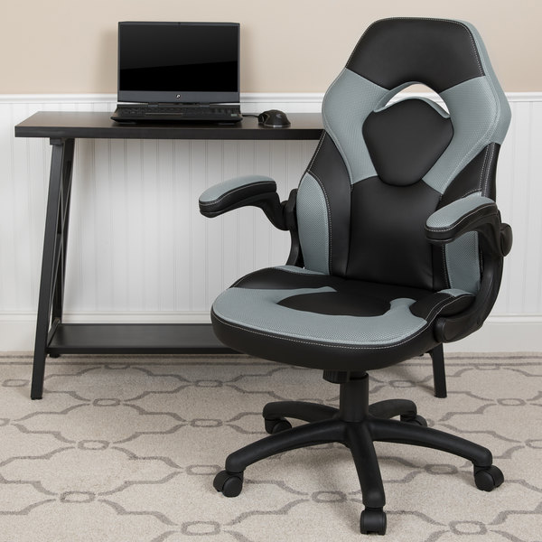 Flash Furniture CH-00095-GY-GG High-Back Gray LeatherSoft Swivel Office Chair / Video Game Chair with Flip-Up Arms Main Image 4